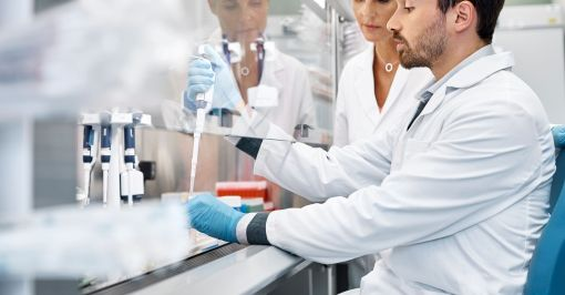 Man and woman working in lab