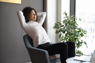 A woman relaxing in a chair